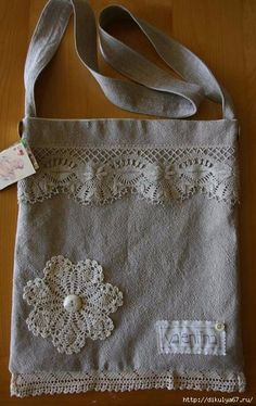 Fab OOAK Handmade Linen Shoulder Bag with Vintage Lace Trim Fab OOAK Handmade Linen Shoulder Bag with by valentinasvintage Handmade Handbags, Handmade Bags, Lace Bag, Patchwork Bags, Denim Bag, Fabric Bags, Vintage Lace, Vintage Cotton, Antique Lace