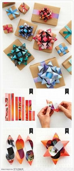 Gift bows from old magazines. Gloucestershire Resource Centre http://www.grcltd.org/scrapstore/