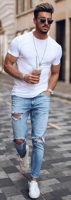 d1461bf2f793 20 Cool Ways To Style The Basic White T-shirt For Men White Tshirt Outfit