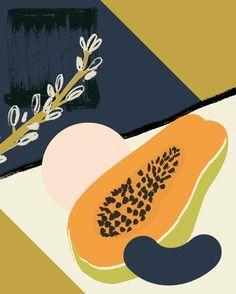 Image result for papaya linocut