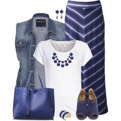 Denim Vest & Maxi Skirt by daiscat on Polyvore featuring moda, mbyM, Sonoma life + style, Jimmy Choo, Apt. 9, Hervé Van Der Straeten and Cathy Waterman
