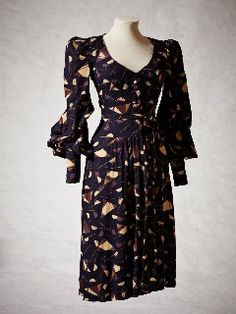 Biba Dress, c1970 fashion style women designer 70s does 40s novelty print day dress rayon puff long sleeves