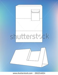 Business card display Box. Product Display Box with blueprint layout. Business card holder and die-cut pattern - stock vector