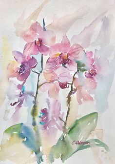 Pink Orchid Painting, Impressionist loose watercolour, Still-life floral painting, Unique Gift Idea, on 300gsm paper 11x15in