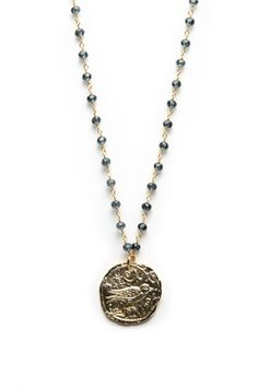 M. Frederic. Gold Bird Coin Necklace in Sapphire. $140