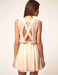 Enlarge ASOS Skater Dress With Lace Cross Back