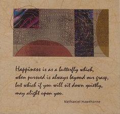 Happiness..Nathaniel Hawthorne Broadside Print Nathaniel Hawthorne, Poetry, Happiness, Butterfly, Unique Jewelry, Handmade Gifts, Inspiration, Kid Craft Gifts, Biblical Inspiration