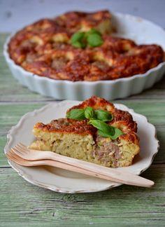 Húsgombóc torta Hungarian Recipes, Salmon Burgers, Meat Recipes, Quiche, Paleo, Breakfast, Ethnic Recipes, Pizza, Foods