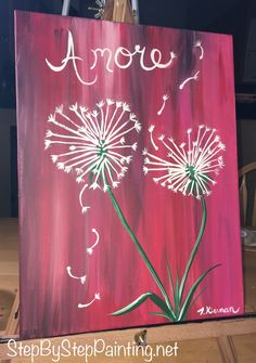 How to Paint Heart Shaped Dandelions Valentines day themed painting from StepByStepPainting.net! Easy beginner tutorials with step by step pictures by Tracie Kiernan.