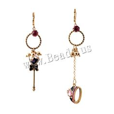 Asymmetric Earrings, Zinc Alloy, with Crystal & Plastic Pearl, brass earring lever back clip, antique gold color plated, faceted & with rhinestone, nickel, lead & cadmium free, 95mm, 72mm,china wholesale jewelry beads