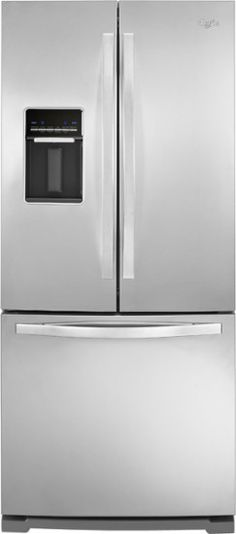 Whirlpool - 19.6 Cu. Ft. French Door Refrigerator with Thru-the-Door Water - Monochromatic Stainless Steel - Front Zoom