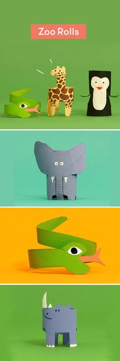 Cuddly, scary, tiny, tall—here are 12 rather cute creatures you can craft at home with nothing other than a toilet roll, some paint and a bit of imagination. Right then…time for some upcycling. Animal Crafts For Kids, Toddler Crafts, Preschool Crafts, Art For Kids, Toilet Paper Roll Crafts, Cardboard Crafts, Toilet Roll Art, Home Crafts, Fun Crafts