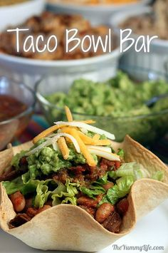 A Tortilla Bowl Taco Bar -- for a fun family meal or dinner party buffet Mexican Buffet, Mexican Dishes, Mexican Food Recipes, Ethnic Recipes, Unique Recipes, Tortilla Bowls, Taco Bowls, Party Fiesta, Taco Party