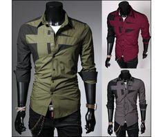 Men's Long Sleeve Black Green Red Grey Shirt Slim Shirt Dress Shirts S M L Xl 2 Xl    OK I like this.