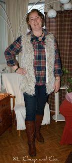 XL Cheap & Chic: Karvaliivi ja ruutupaita - Faux fur vest and plaid...