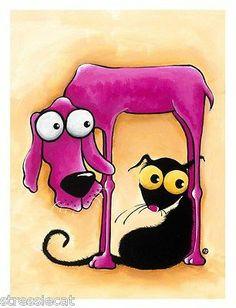 Giclee Archival Matt Print Whimsical Fine Art Pink Dog Cat Large 18 x 24 Inches | eBay
