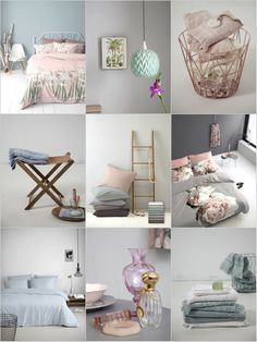 Pretty pastel! We ♥ this! These softtones sets you instantly in a good mood. The colours, like mintgreen, softpink en lightblue, can easily be combined together. That's why this classic trend is so popular. #pastel #softtones #moodboard #bedroom #rose #copper #mintgreen