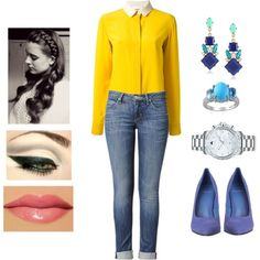 Yellow and Blue by teodoramaria98 on Polyvore featuring Chloé, Hudson Jeans, Carvela, Movado, Carolee and memento