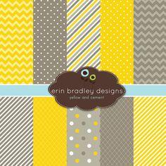 Digital Scrapbook Paper Yellow and Grey by ErinBradleyDesigns, $5.00