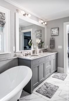 Bathroom ideas & Love these Gray Bathroom Cabinets! Would look great in my master ...