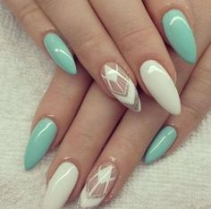 White and mint with some glitter, gel nails - LadyStyle