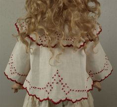 Very Rare Antique Factory-Original French White Piquet Cape JUMEAU, BRU... or Large FRENCH FASHION Doll, circa 1880s