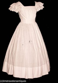 see the sleeve idea:   Civil War Era Young Miss's White Muslin Dress for Study | eBay