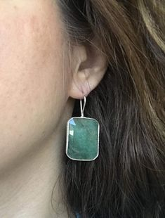 Rectangle Emerald Statement Earring Green Emerald Dangle