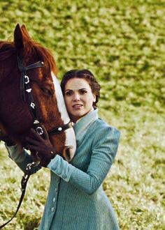 Awesome young Evil Queen Regina (Lana) with her awesome horse #Once S2