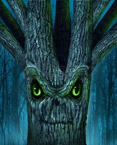 Haunted tree with a mythical dark forest and an evil plant shaped as a demon spirit skull face as a halloween !