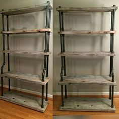 Huge Free Standing Pipe Shelves, 6-1/2 ft tall Industrial Style Shelving by WutNotz on Etsy