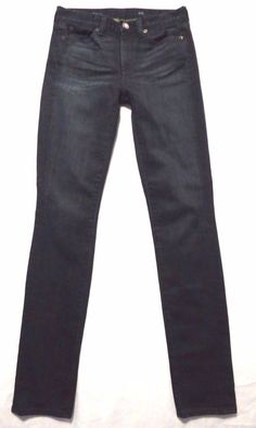 J Crew size 25 x 31 High rise waist skinny leg EUC Dark blue wash Womens jeans #JCrew #SlimSkinny