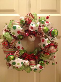 Whimsical Christmas wreath in red green & white by WreathObsession