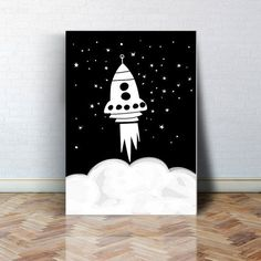 Reach for the stars, black and white rocket by Coco & Blu. Giclee printed on thick archival natural cotton paper using fade resistant ultrachrome giclee inks. - Frame and mat not included - Colors dep