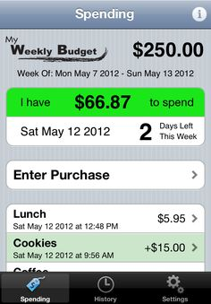 My Weekly Budget: lets you focus on a simple spending target for the current week. Focusing week-by-week on keeping within a spending target helps you meet your budget, and saves you money over time. Perfect for college kids on a budget Planning School, Planning Budget, Weekly Budget, Budget App, Money Tips, Money Saving Tips, Managing Money, Software, Apps