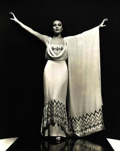 1920s star Dolores Del Rio, stunning in a classic art deco gown with chevron pattern.