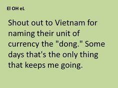 "Shout out to Vietnam for naming their unit of currency the ""dong."" Some days that's the only thing that keeps me going."