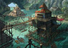 Stilt village update by coMceptArt971 Fantasy art landscapes Fantasy concept art Fantasy village