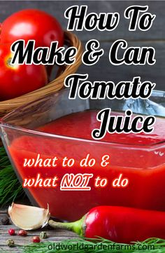 How To Make and Can Tomato Juice - What To Do And What NOT To Do! - Canning and Preserving for beginners juice Homemade Tomato Juice, Canned Tomato Recipes, Canned Tomato Juice, Easy Tomato Juice Recipe, Garden Tomato Recipes, Veggie Juice, Canned Foods, Fruit Juice, Healthy Juice Recipes