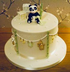 Panda baby shower cake by Daisychain's Cakes