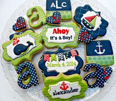 Baby Shower Cookies~                        By mint lemonade, green, blue, nautical sailboat, whale, anchor, letter