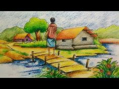 This is a beautiful village scenery drawing for beginners &kid's .watch the video for easy drawing guide.Hope u will like this,try it u were able to recrea. Oil Pastel Drawings Easy, Oil Pastel Paintings, Oil Pastel Art, Indian Art Paintings, Easy Paintings, Easy Drawings, Landscape Pencil Drawings, Pencil Drawings Of Animals, Art Drawings Sketches