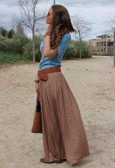 "This page has perfect examples of how long skirt outfits walk the thin line between ""wow that is gorgeous"" and ""why would you wear that outside""."