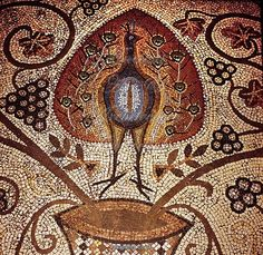 Roman mosaic from Ravena, Peacock with feathers up, flowers and grapes. To be found at the Accademia di Belle Art, Ravenna