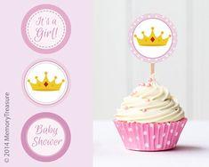 Princess Baby Shower Cupcake Toppers Printable by MemoryTreasure