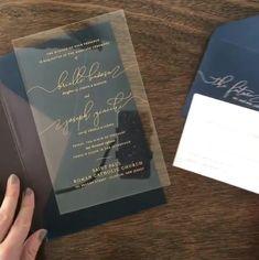 Simply Chic Acrylic Invitation Modern Clear Acrylic Wedding Invitation with Gold by Penn & Paperie Acrylic Wedding Invitations, Simple Wedding Invitations, Elegant Wedding Invitations, Custom Wedding Invitations, Wedding Invitation Cards, Simple Wedding Cards, Invitation Wording, Invitation Ideas, Wedding Programs