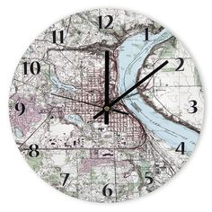 The Personalized Topographic Map Clock - Hammacher Schlemmer - This is a map of your own address. How cool!