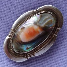 Vintage Small STERLING SILVER Abalone Shell Brooch