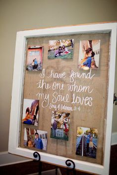 Lindsay & Carter : To write on old window, use paint pen on front. If you want a certain font, print it off the size you want, tape it to back of window and trace it with the paint pen. Use double stick tape in corners to hold pics on back of window. Then staple burlap on back.