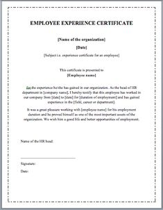 Works Experience Certificate Format  Google Search  Format